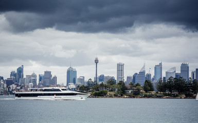 Sydney harbor and downtown buildings