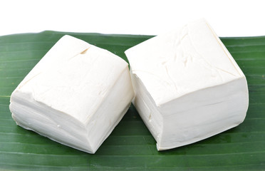 tofu cheese on banana leaves