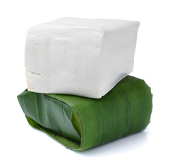 tofu cheese cover with banana leaves