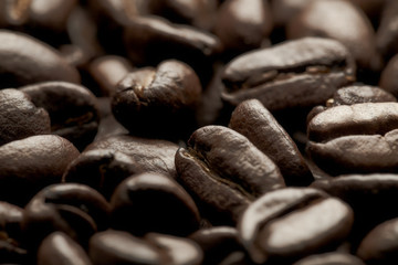 coffee beans on close-up background