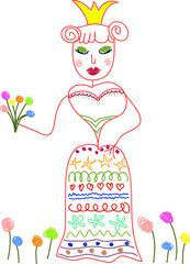 Hand drawn doodle princess