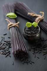 Raw black rice noodles, traditional japanese ingredient