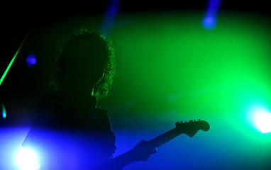 Singer during concert