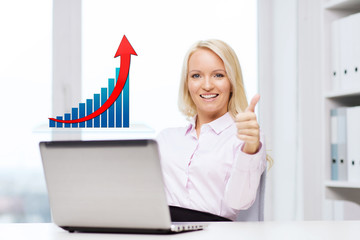 happy businesswoman with laptop showing thumbs up