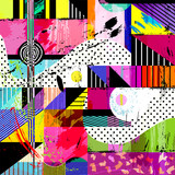 abstract background, with strokes, splashes and geometric lines - 80083737