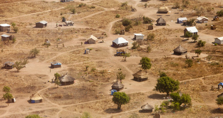 aerial view of African village