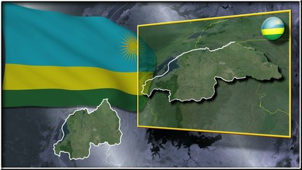 Rwanda flag and map animation