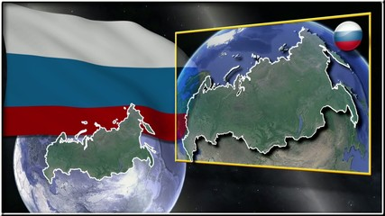 Russian Federation flag and map animation