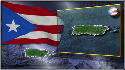 Puerto Rico flag and map animation