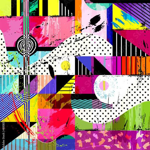 Obraz abstract background, with strokes, splashes and geometric lines