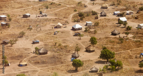 In de dag Afrika aerial view of African village