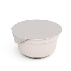 White food kontener for yogurts on a white