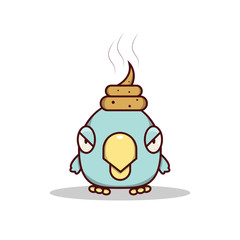 Isolated cartoon blue little bird get lucky on his head