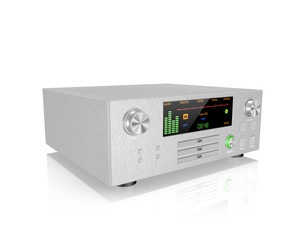silver stereo hi-fi receiver  ,on white background