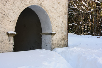 Arches door obstructed by the snow