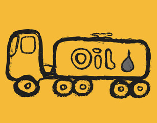 Cartoon tanker truck, traffic sign