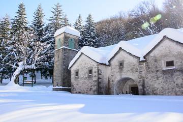 Italy, Madonna dell'Acero sanctuary in winter