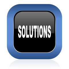 solutions square glossy icon