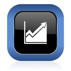 histogram square glossy icon stock sign
