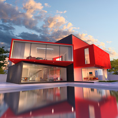 Red modern house
