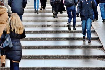 Pedestrians in stairs
