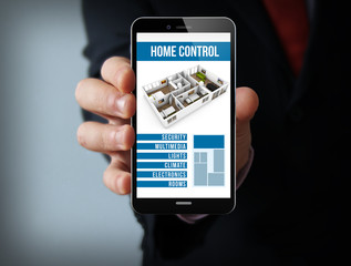 online smart home control businessman smartphone