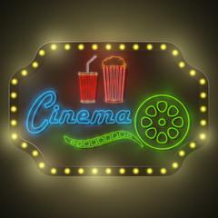 Neon Colorful Cinema Retro Billboard.