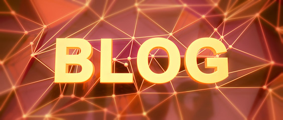 Abstract low-poly background. Word concept. Text blog. 3d render
