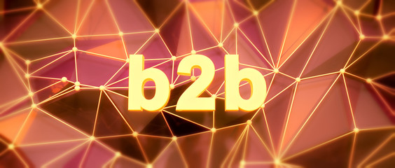 Abstract low-poly background. Word concept. Text b2b. 3d render.