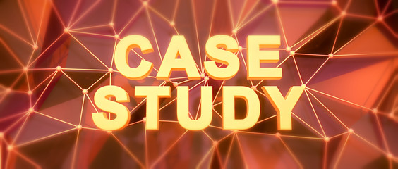 Abstract low-poly background. Word concept. Text case study. 3d