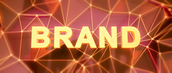 Abstract low-poly background. Word concept. Text brand. 3d rende