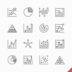 Thin linear business data market icons with bar, pie, area