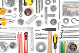 set of tools on white background top view poster