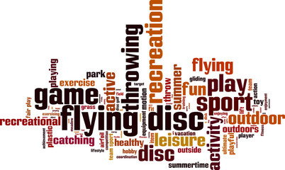 Flying disc word cloud concept. Vector illustration