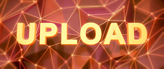Abstract low-poly background. Word concept. Text upload. 3d rend