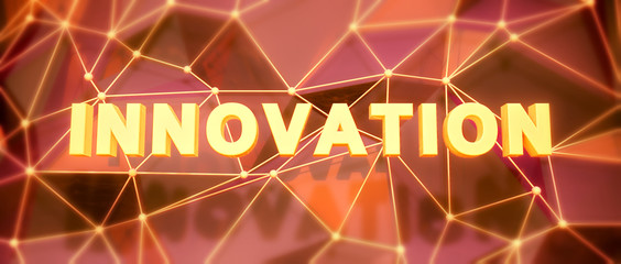 Abstract low-poly background. Word concept. Text innovation. 3d