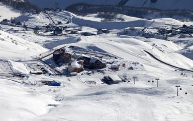 Top view on ski resort
