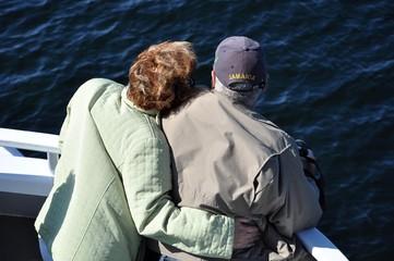 Old couple enjoying the cruise