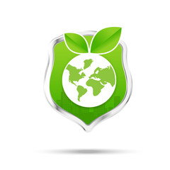 Protection shiled and eco concept save our world on the white ba