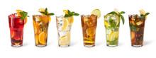 "Постер, картина, фотообои ""Glasses of fruit drinks with ice cubes"""