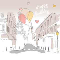 Happy birthday card from Paris street, Eiffel tower and balloons
