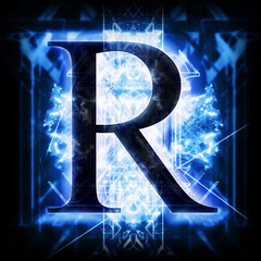 Blue Abstract Letter R