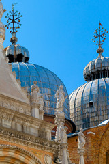 Closeup detail of domes at St. Mark's Cathedral Venice Italy