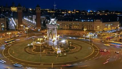 Time-lapse of Placa De Espanya( Square of Spain). Barcelona
