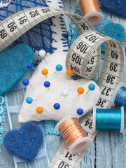 sewing materila arrangement