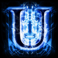 Blue Abstract Letter U
