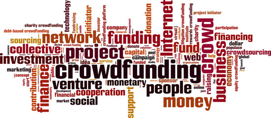 Crowdfunding word cloud concept. Vector illustration