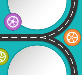 Abstract road and wheels background