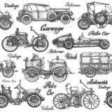 Cars. Retro, vintage vehicles on a white background. sketch