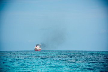 Cargo ship sailing in the Indian ocean
